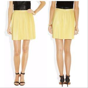 Tibi   Faux Leather Pleated Yellow Mini Skirt 10